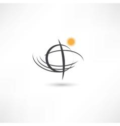 Black line simple planet symbol vector