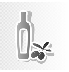 black olives branch with olive oil bottle sign vector image