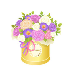 Bouquet of flowers in box vector