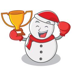 boxing winner snowman character cartoon style vector image