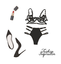 bra and panties set high heels red lipstick vector image