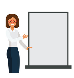 business woman showing blank template board vector image
