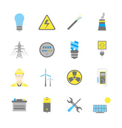cartoon electricity power generation icons color vector image