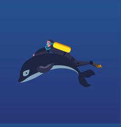 cartoon man scuba diving while holding dolphin fin vector image
