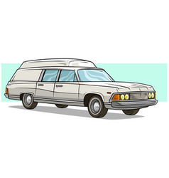 cartoon white long retro car with roof rack vector image