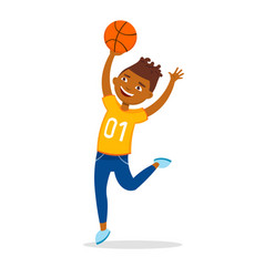 cheerful boy playing basketball and jumping vector image