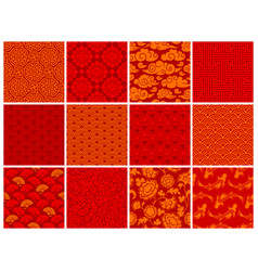 Chinese or japanese seamless patterns set vector