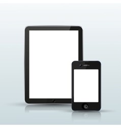 Computer tablet with smartphone vector