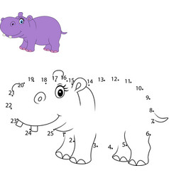 connect the number to draw the animal educational vector image