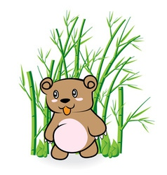 Cute Bear in Bamboo Forrest 01 vector
