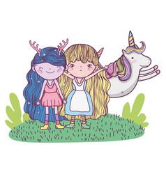 Cute little fairies couple with unicorn vector