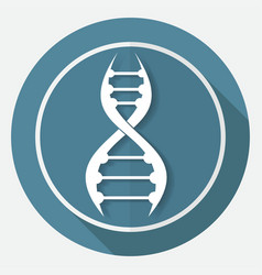 Dna icon on white circle with a long shadow vector