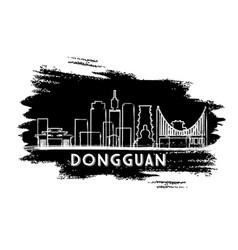 dongguan china city skyline silhouette hand drawn vector image