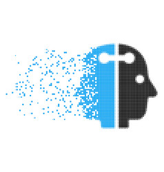 Dual head connection disappearing pixel icon vector