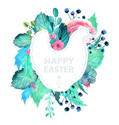 Easter watercolor natural with chicken sticker vector image