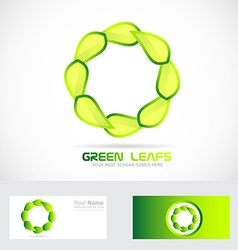 Eco leafs circle logo drawing vector image
