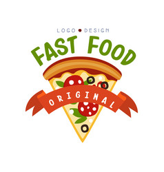 Fast food logo original design badge with pizza vector