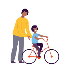 Father teaching his son to ride a bicycle parent vector