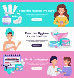 Feminine hygiene flat banners vector