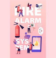 Fire alarm safety system concept characters get vector