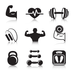 Fitness bodybuilding sport icons set vector image