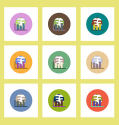 Flat icons set column chart and earth concept vector