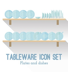 Flat set of different icons plates vector image