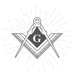 Freemason symbol - illuminati logo with compasses vector