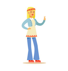Girl hippie dressed in classic woodstock sixties vector
