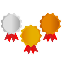 Gold silver bronze awards medals with red ribbons vector