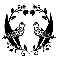 Graphic element flourishes with birds vector