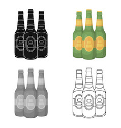 Green glass beer bottles alcoholic drink pub pub vector