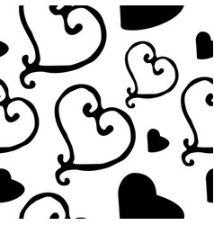 Hand drawn heart seamless pattern vector