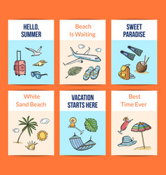 hand drawn summer travel elements card vector image