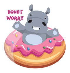 hippo with donut on white background vector image