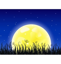 Huge yellow moon with grass meadow vector