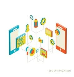 isometric background seo optimization vector image