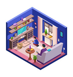 Isometric living room interior with people vector