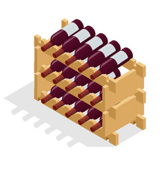 Isometric red wine bottles stacked on wooden racks vector