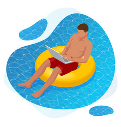 Isometric young man working on beach with a vector