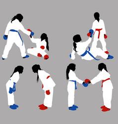 karate girls help vector image