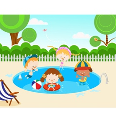 Kids In Swimming Pool vector image