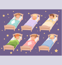 kids sleeping quiet hour in kindergarten blanket vector image
