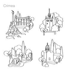 Landmarks crimea set icons drawing vector