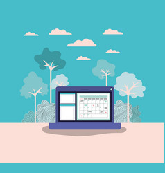 laptop computer with forest landscape vector image