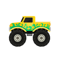 Large bright yellow pickup truck with green decal vector