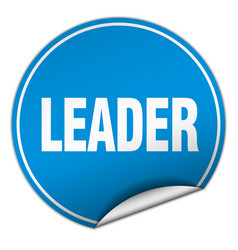 Leader round blue sticker isolated on white vector