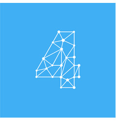 logo number 4 dots lines vector image