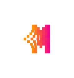 m letter pixel bit logo icon design vector image