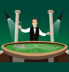 man casino croupier character vector image